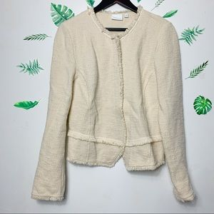Anthropologie ett:twa bardot cream knit jacket L